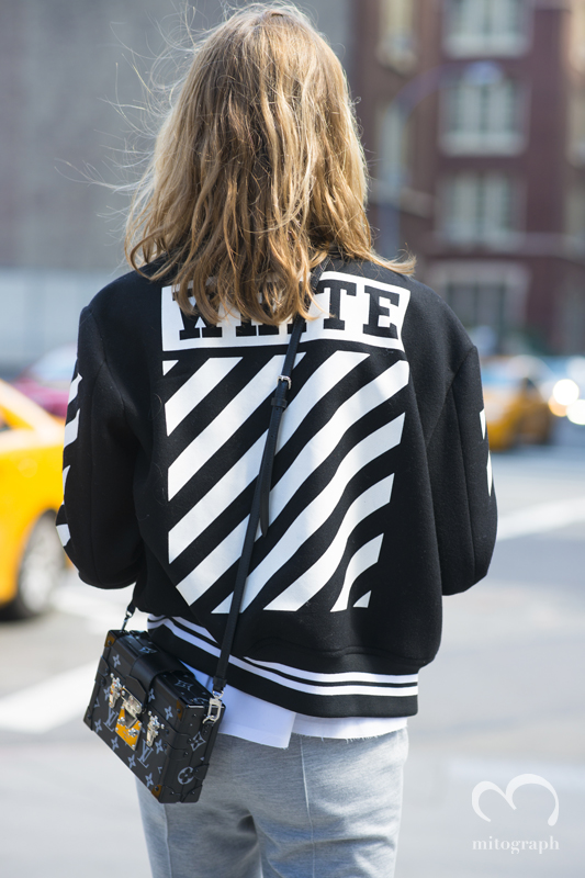 Jessica Minkoff wears Off White Jacket and Louis Vuitton bag during New York Fashion Week 2016 Spring Summer NYFW