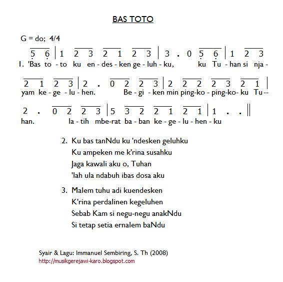 Partitur Lagu Karo: Bas Toto