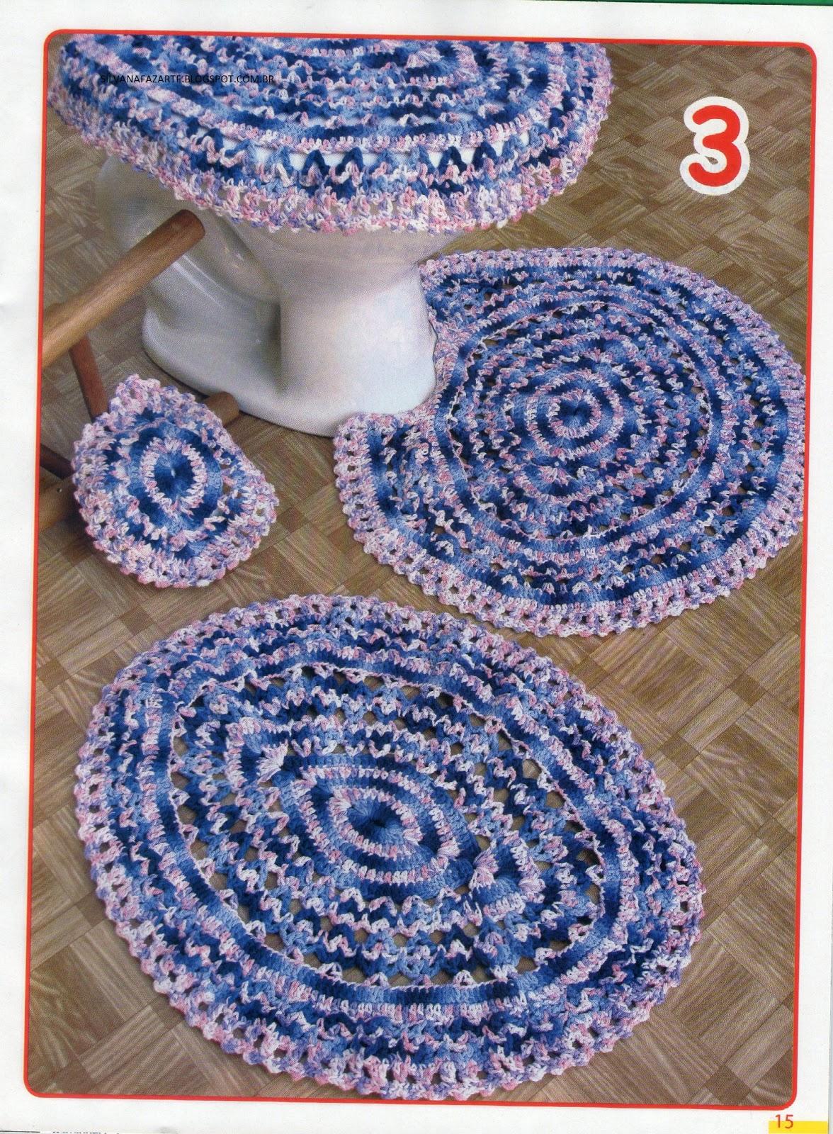CROCHE GRAFICOS E RECEITAS: JOGO DE BANHEIRO ROSA E AZUL #283F74 1176x1600 Banheiro Azul E Rosa