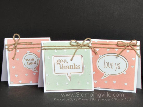 Handmade 3x3 Mini Cards with Word Bubbles by Stampingville #papercrafts #cardmaking #StampinUp