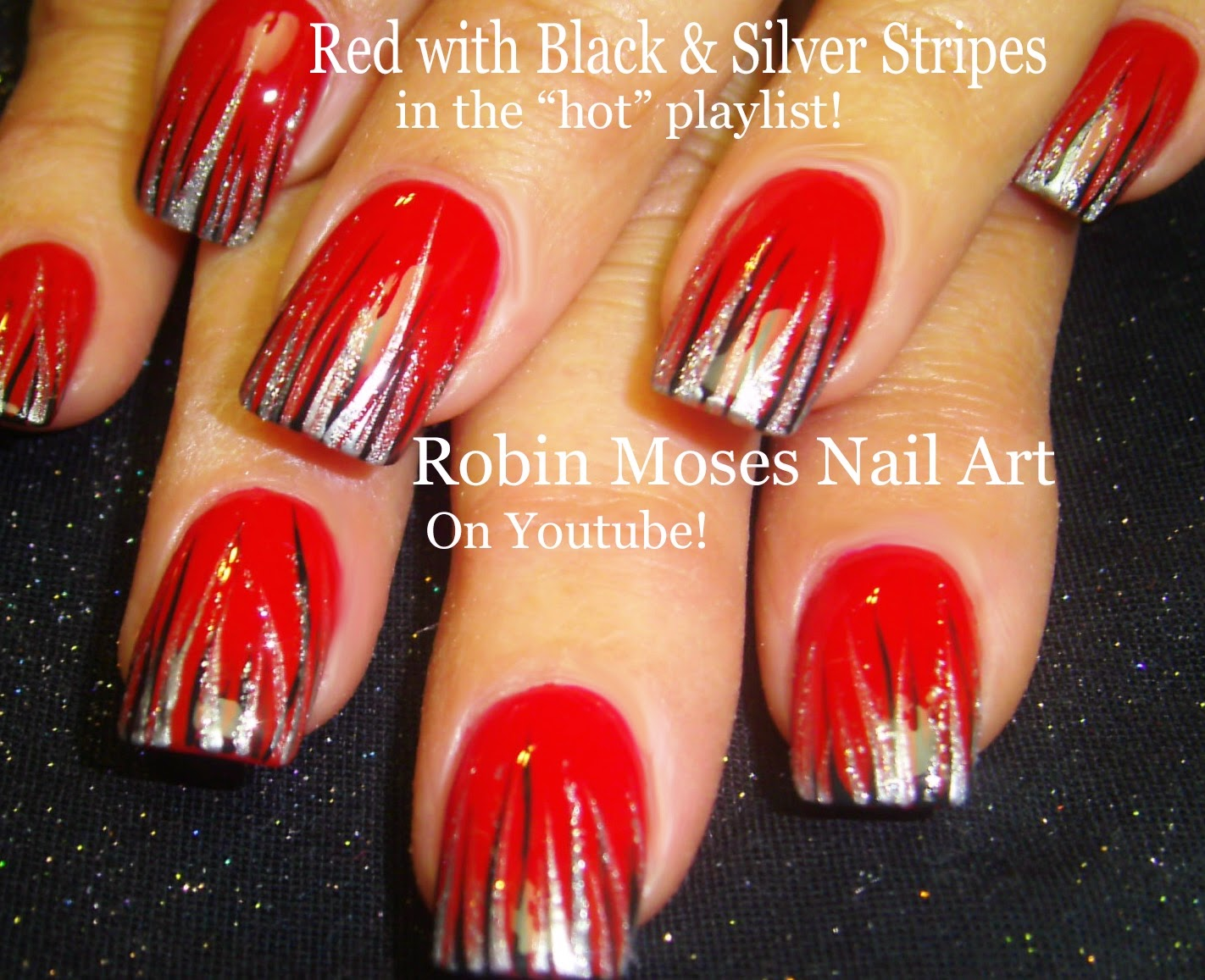 Nail Art Tutorial  DIY Easy Christmas Nail Art  Red Black amp; Silver