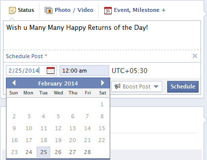 Schedule Facebook Status Updates
