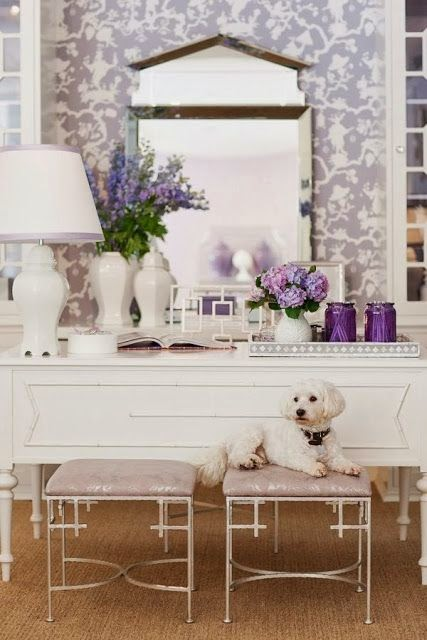 feminine purple and white room