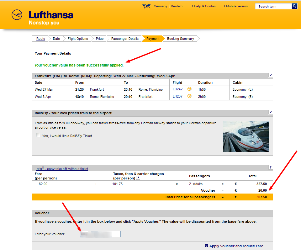 Lufthansa Coupon Codes, Promos & Sales. Lufthansa coupon codes and sales, just follow this link to the website to browse their current offerings. And while you're there, sign up for emails to get alerts about discounts and more, right in your inbox. Deals like this don't come along everyday! Make sure 5/5(15).