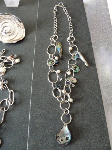 Paua and pearl necklace