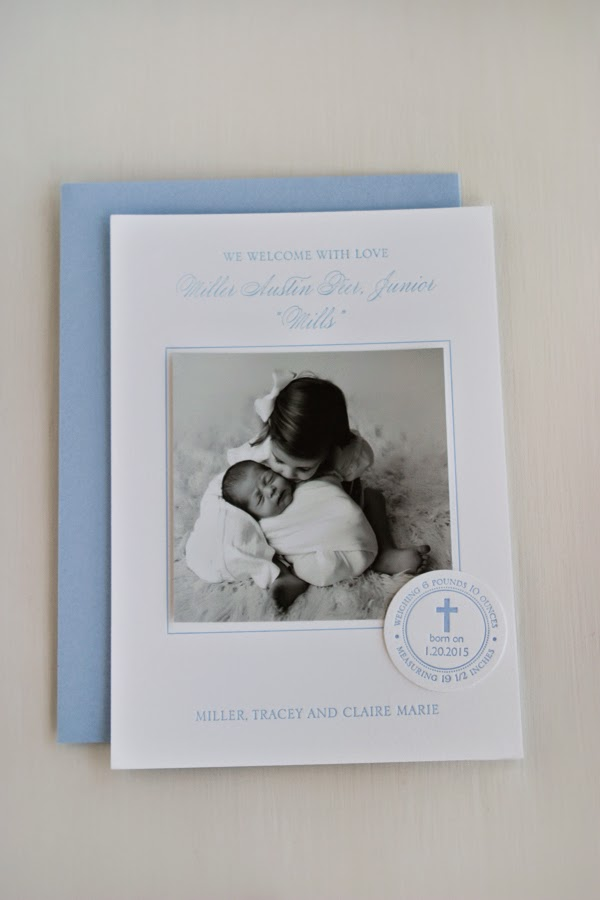 Birth Announcement Letterpress photo cross