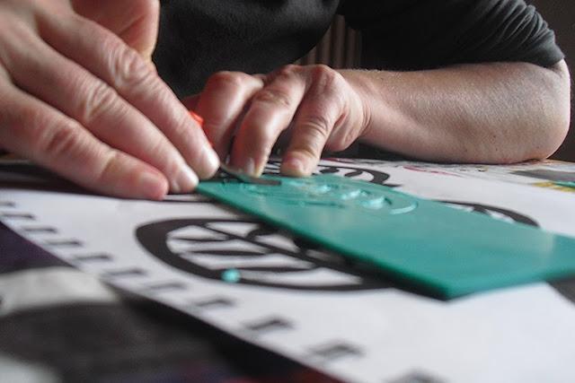 Linolschnitt mit Kunststoffmatte