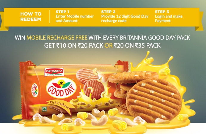 Get Freecharge Coupon on Good Day Biscuit: