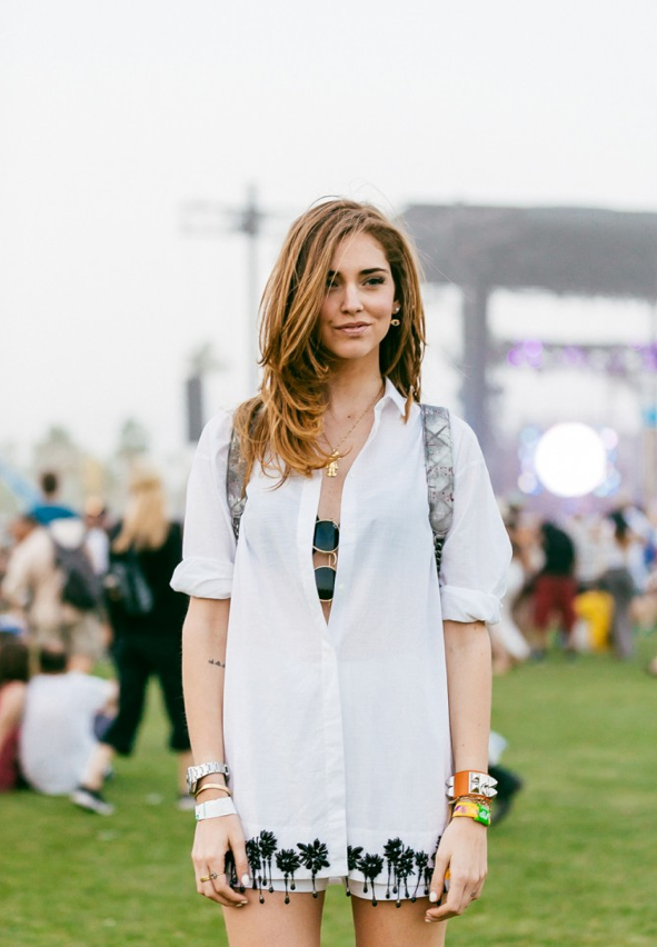 Chiara Ferrangi camisa nº21 con abalorios Coachella 14