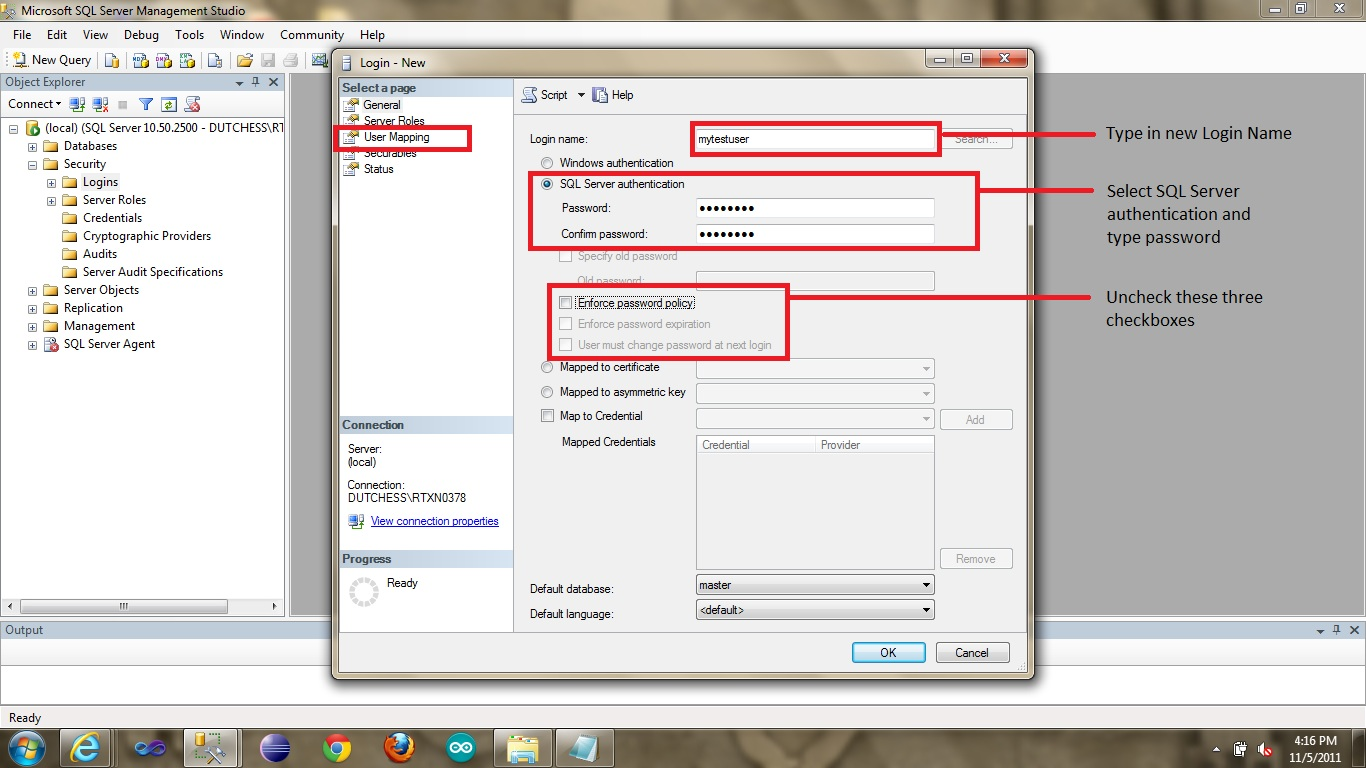 how to create database and table in sql server 2008 r2