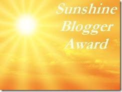 Sunshine Blogger Award- given to me by Gary, a great blogger and friend