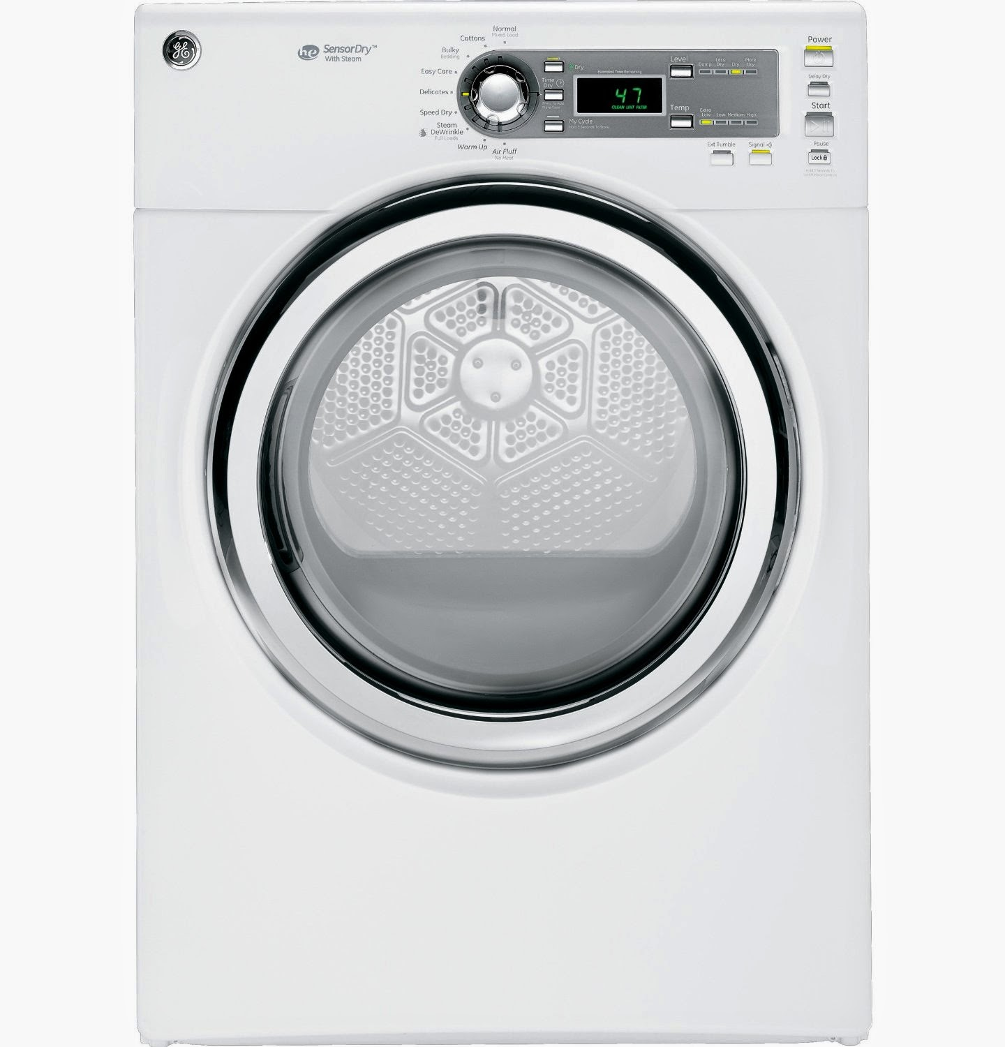Ge Gfds140edww 70 Cf White Stackable With Steam Cycle Electric Front Load  Dryer