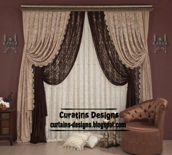 Stylish chocolate curtain style for living room, Luxury curtain