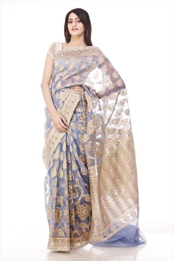 Beige Cotton Banarasi Saree