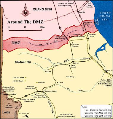 Carte de la zone démilitarisée à Hue