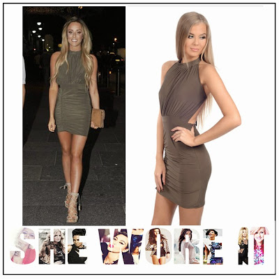 Back Detail, Bodycon, Celebrity Style, Charlotte Crosby, Dress, Gathered, Geordie Shore, Halterneck, High Neck, INTHESTYLE, Khaki, Low back, Mini Dress, Open Back, Ruched, Sleeveless, Tie Detail,