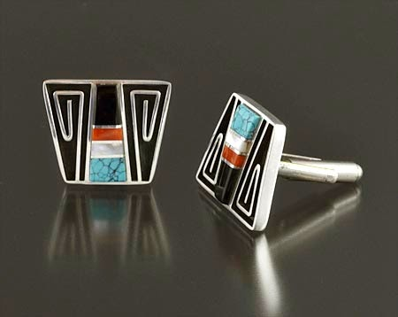 Silver & Inlay Cufflinks by Albert Nells (Navajo)