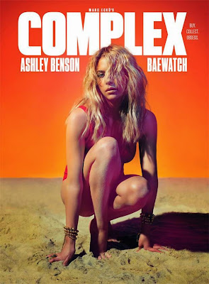 blonde bombshell Ashley Benson so hot in in a pink cutout swimsuit and a low-cut silver bikini top for Complex magazine