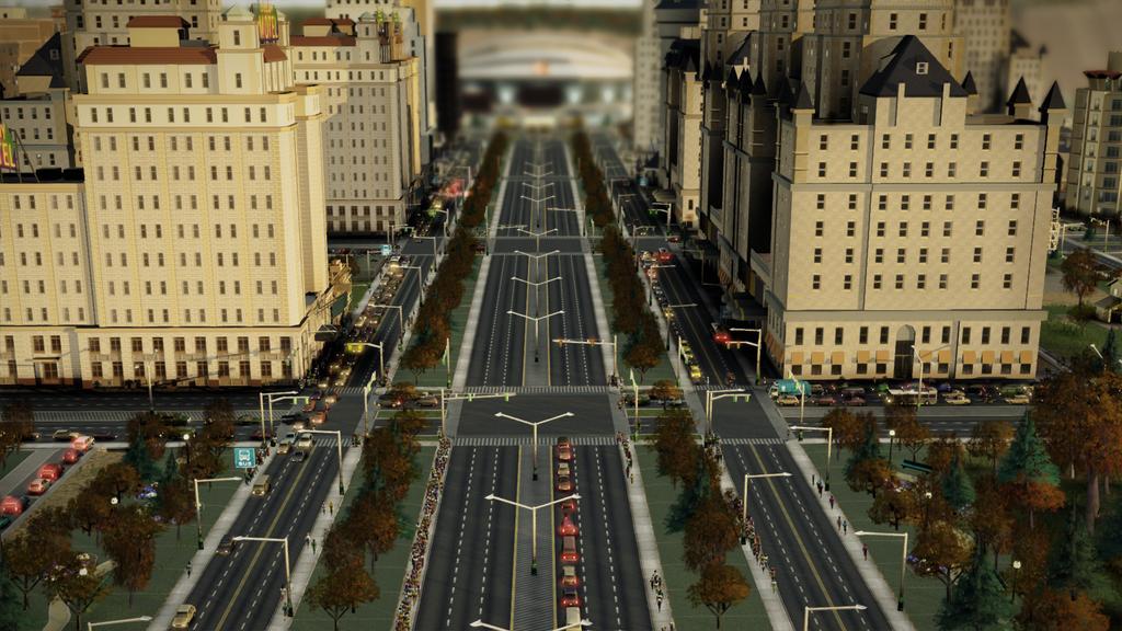 Вид на авеню с высокой застройкой в SimCity