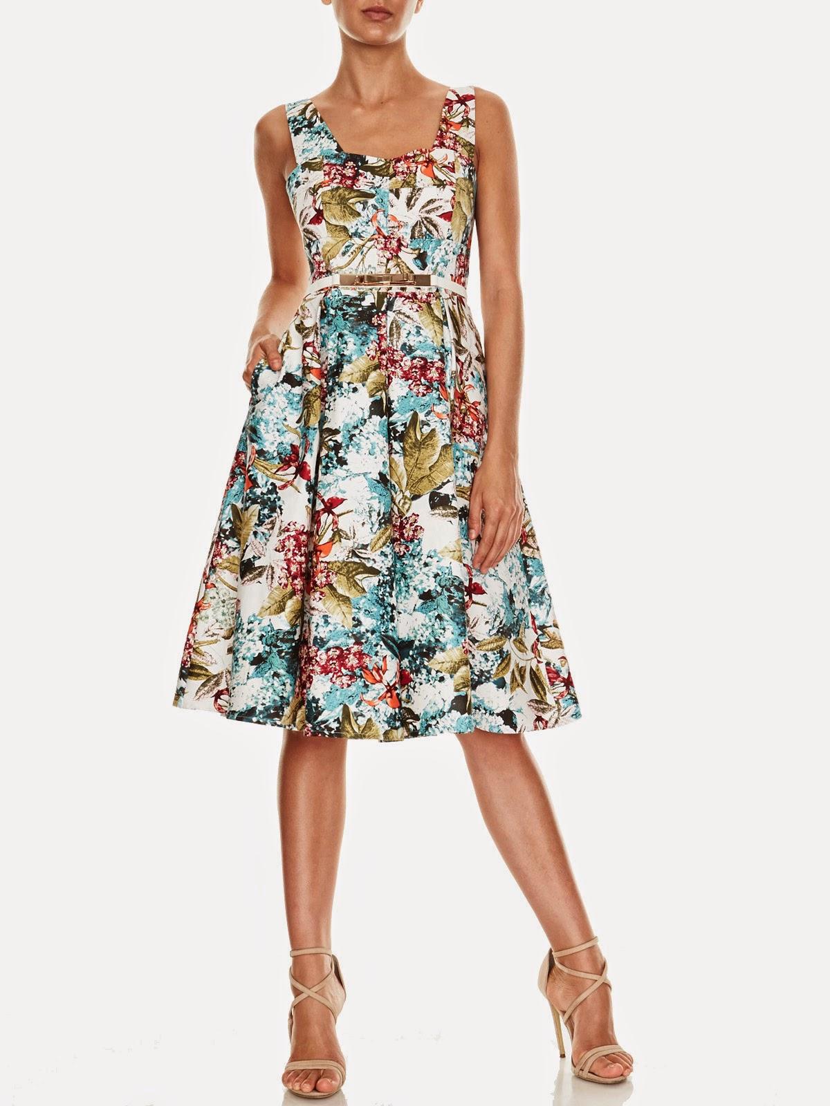 Ava Printed Sateen Dress