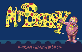 Mr Blobby Title screen Amiga