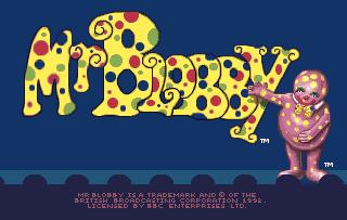 Mr Blobby Title screen Amiga