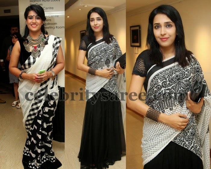 Black and White Printed Fancy Saris