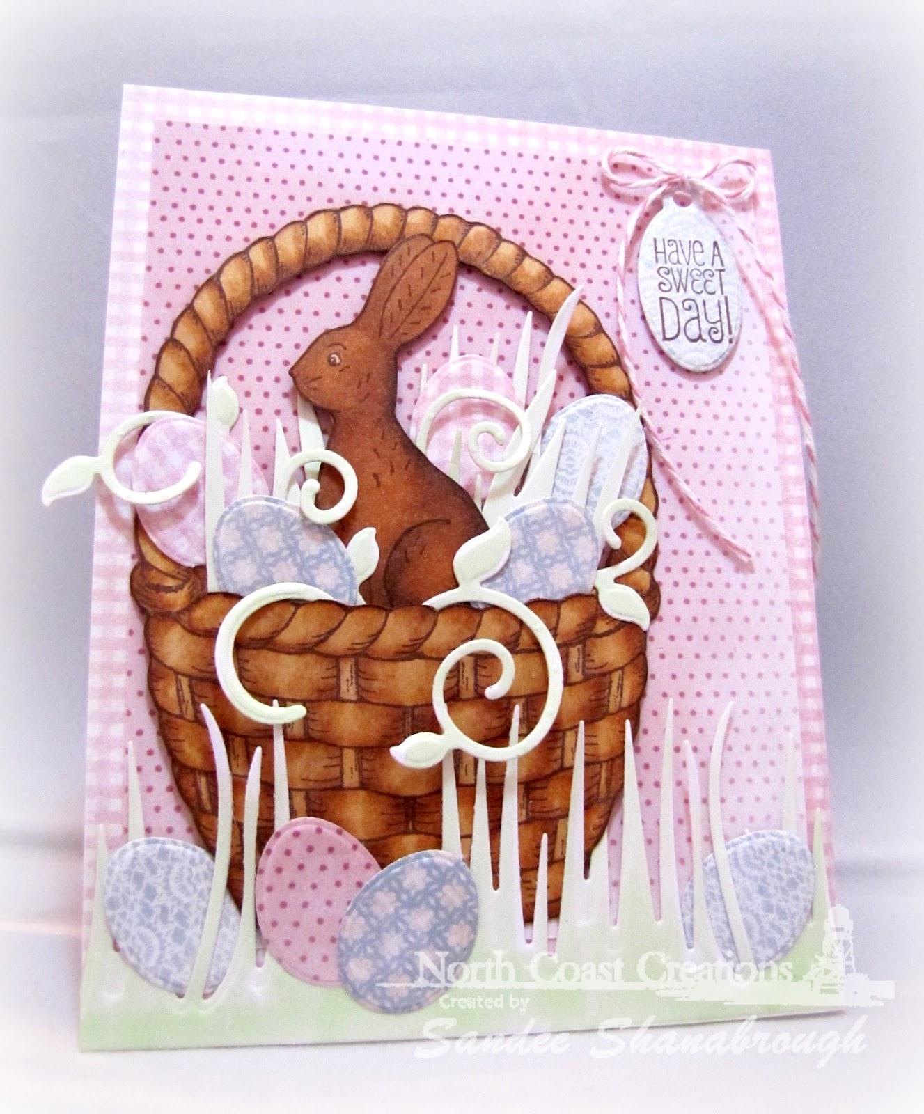 Stamps - North Coast Creations Chocolate Bunnies, ODBD Shabby Rose Paper Collection, ODBD Basket of Blessings, ODBD, Custom Eggs Dies, ODBD Custom Grass Border Die, ODBD Custom Fancy Foliage Die, ODBD Custom Mini Tags Dies