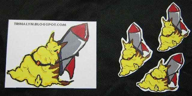 obese pikachu rocket funny sticker handmade original WTF