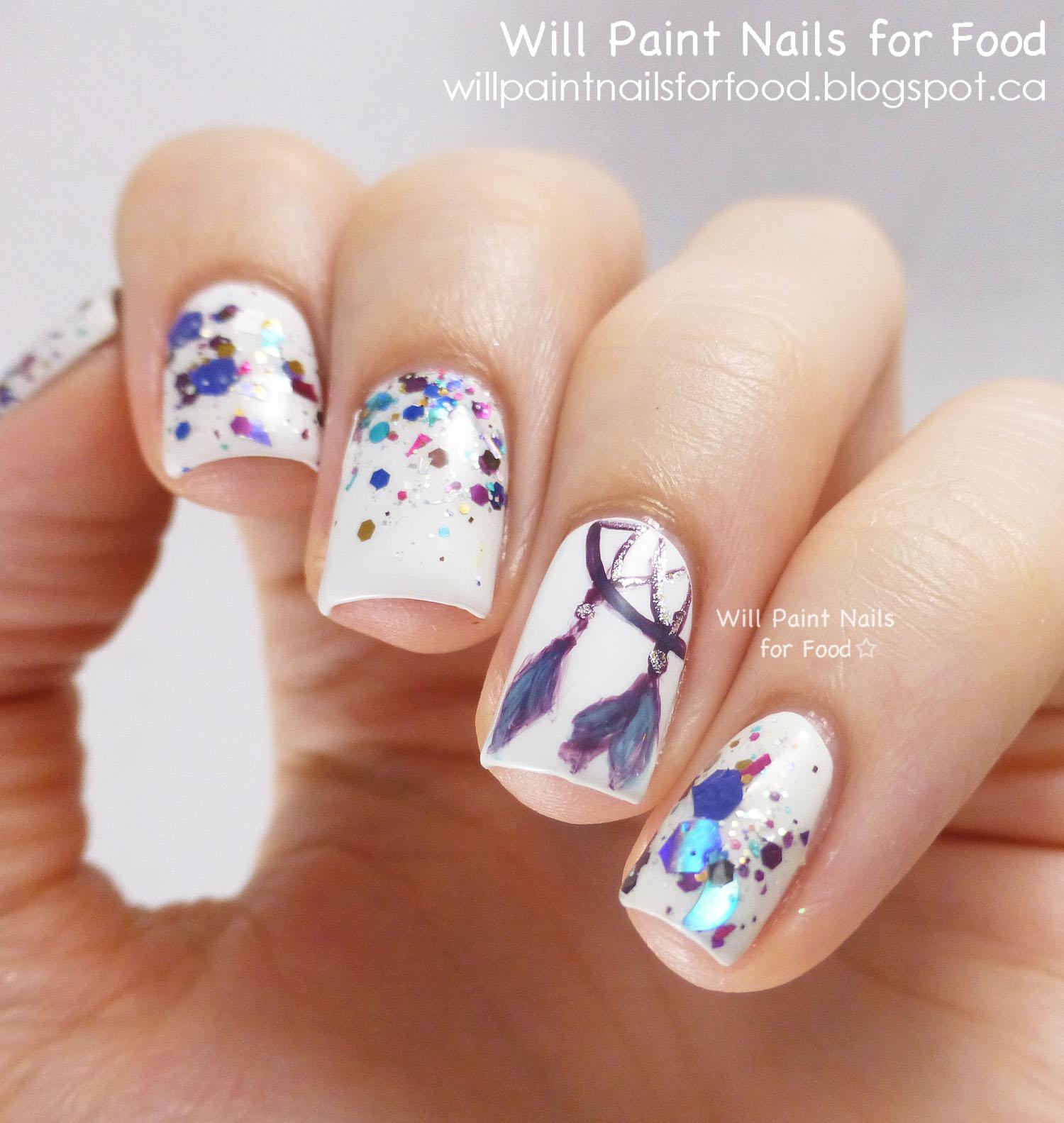 Дизайн ловец снов на ногтях