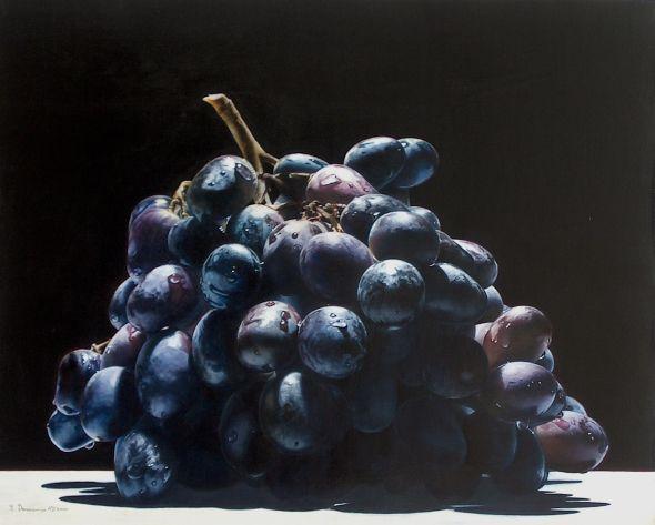 Emanuele Dascanio pinturas retratos e natureza morta hiper-realistas Uvas