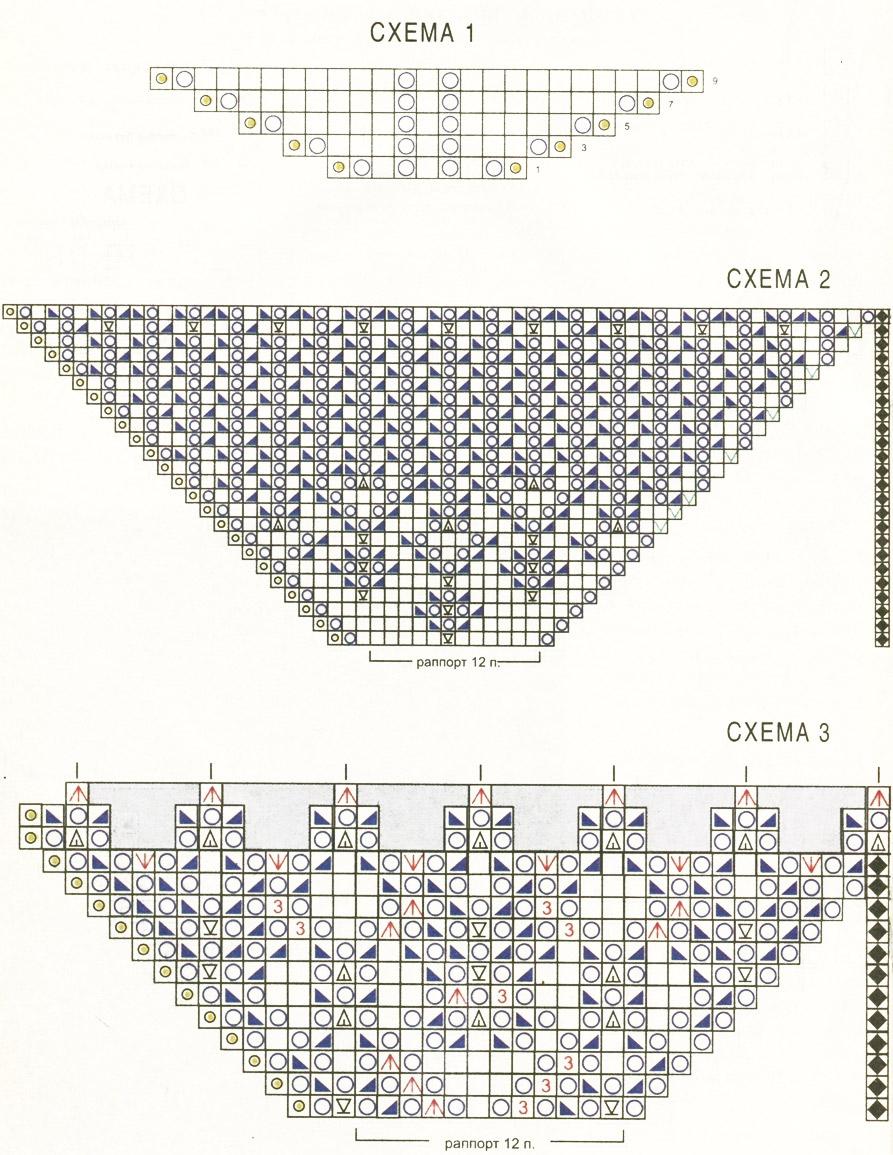 Вяжем  шаль. Порядок выполнения работы, схемы.  Shawl - Crochet, knitting