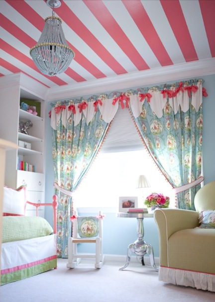 Pink striped ceiling