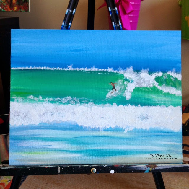 surfer, painting, acrylic painting, ocean, beach, water, waves, surf,