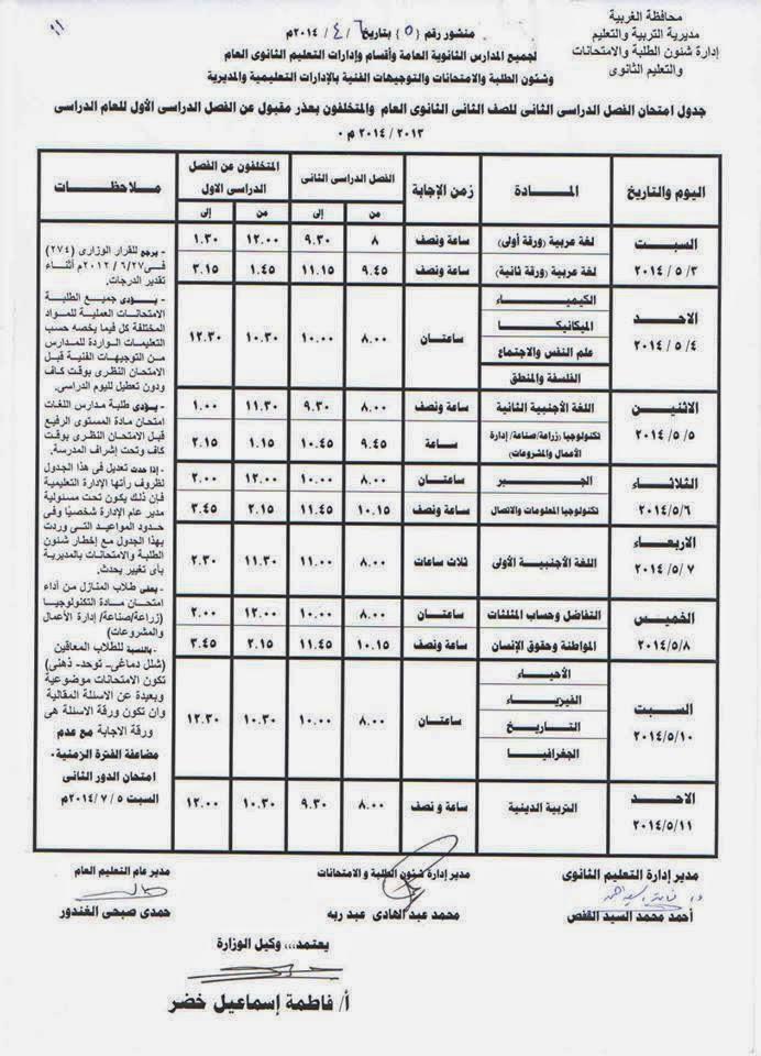 جدول امتحانات المرحلة الثانوية الترم الثانى 2014 محافظة الغربية 10152474_85292369805