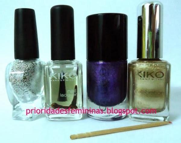 bolinhas de caviar, esmaltes dourado e lilas