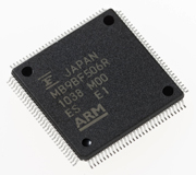 Picture of a FM3 MB9BF506R Microcontroller. Property of Fujitsu Global.