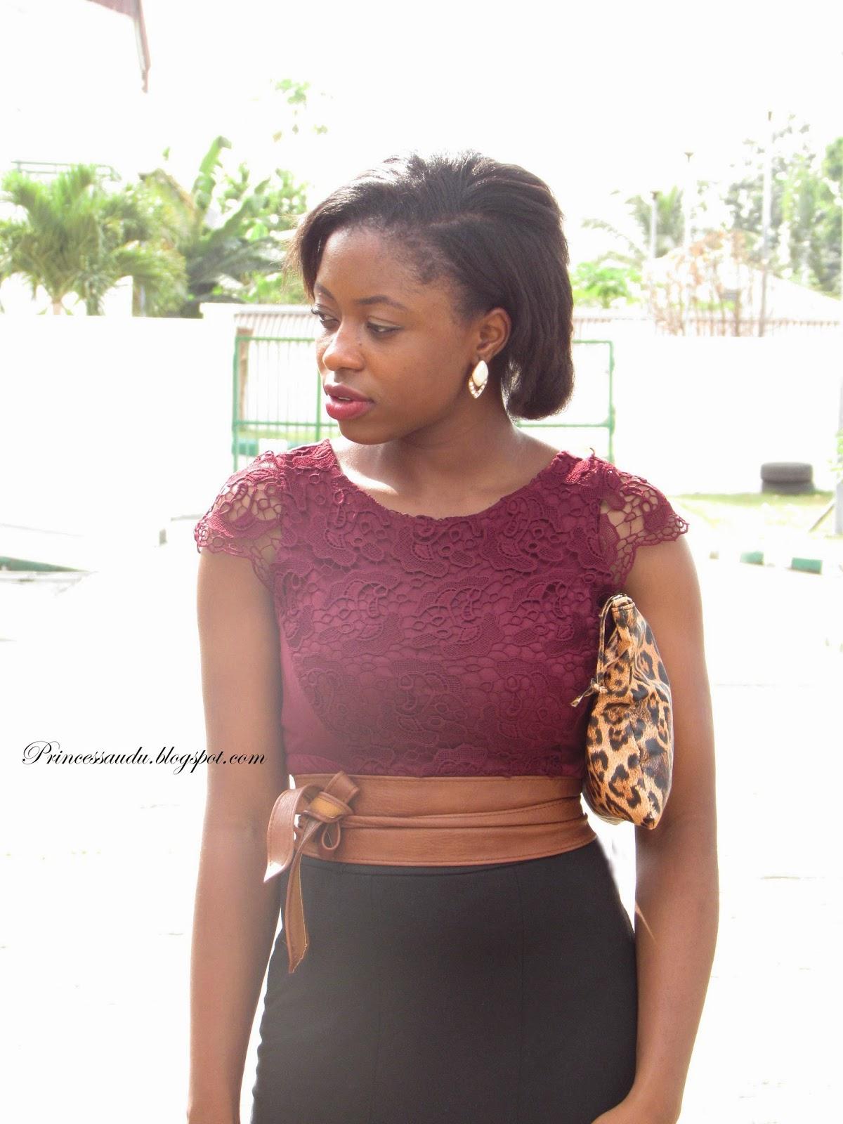 Lace blouse, burgundy, belt, brown, statement belt, leopard print purse, back pencil skirt, closet essential
