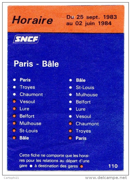 LIGNE PARIS/BALE - archives
