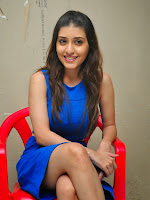 Kainaz Motivala Smiling Beauty in Blue Sleeveless Short Dress Stunning Cuteness