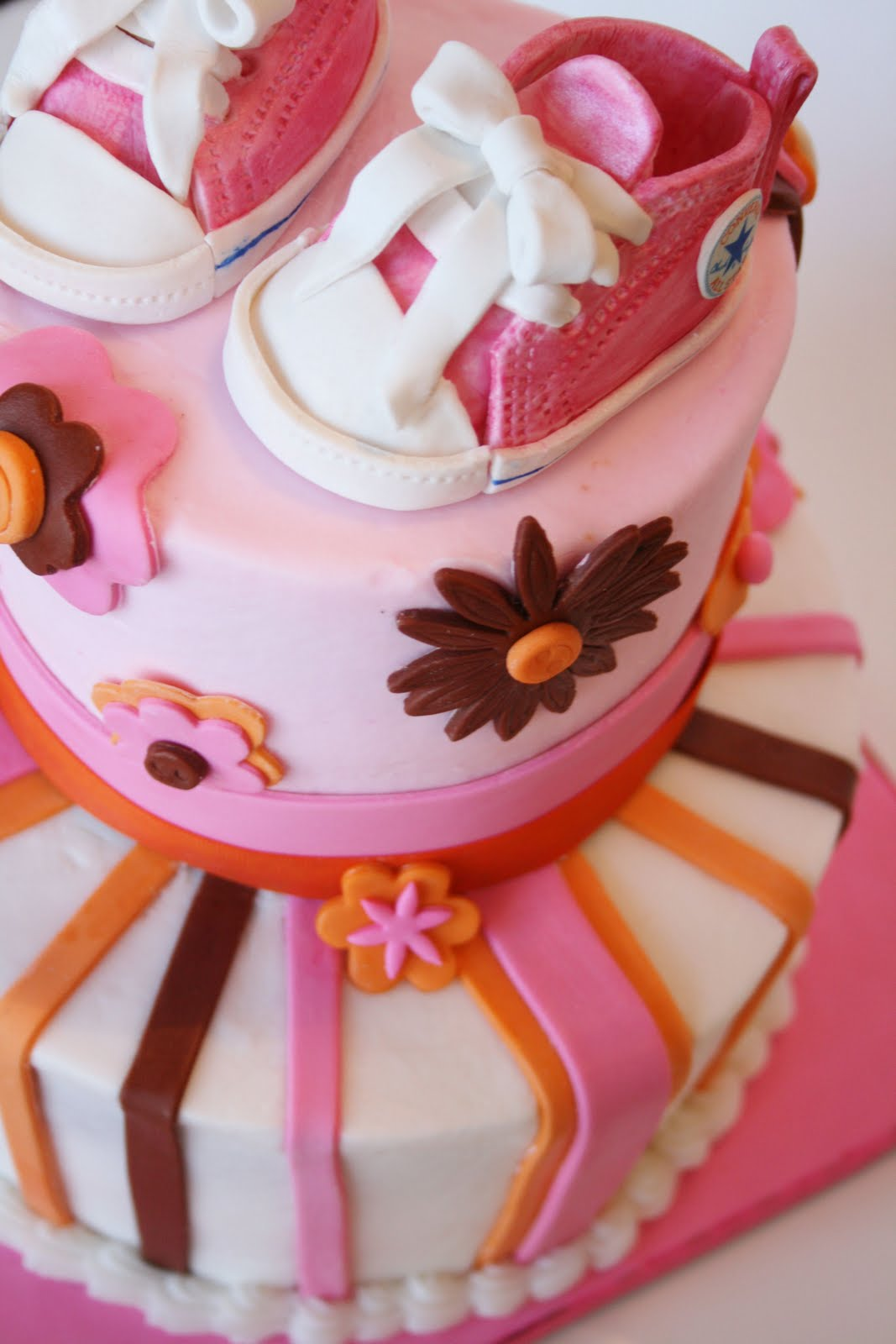 pink and orange baby shower cakes