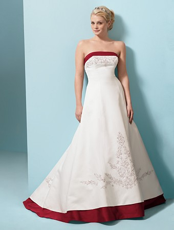 formal wedding dresses red color accent wedding dress