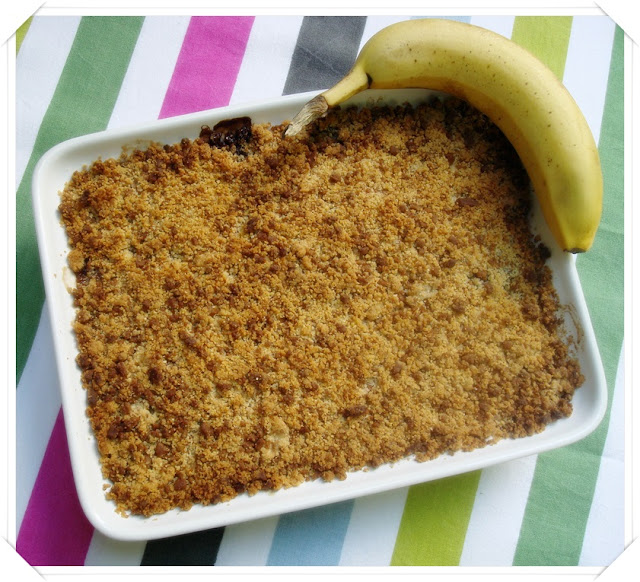 Crumble de banana/chocolate/speculoos
