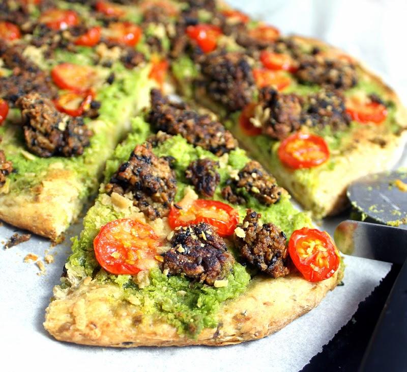 Oppskrift Hjemmelaget Pizza Pizzabunn Med Erter Ertepizza Hvitløk Vegan Ost