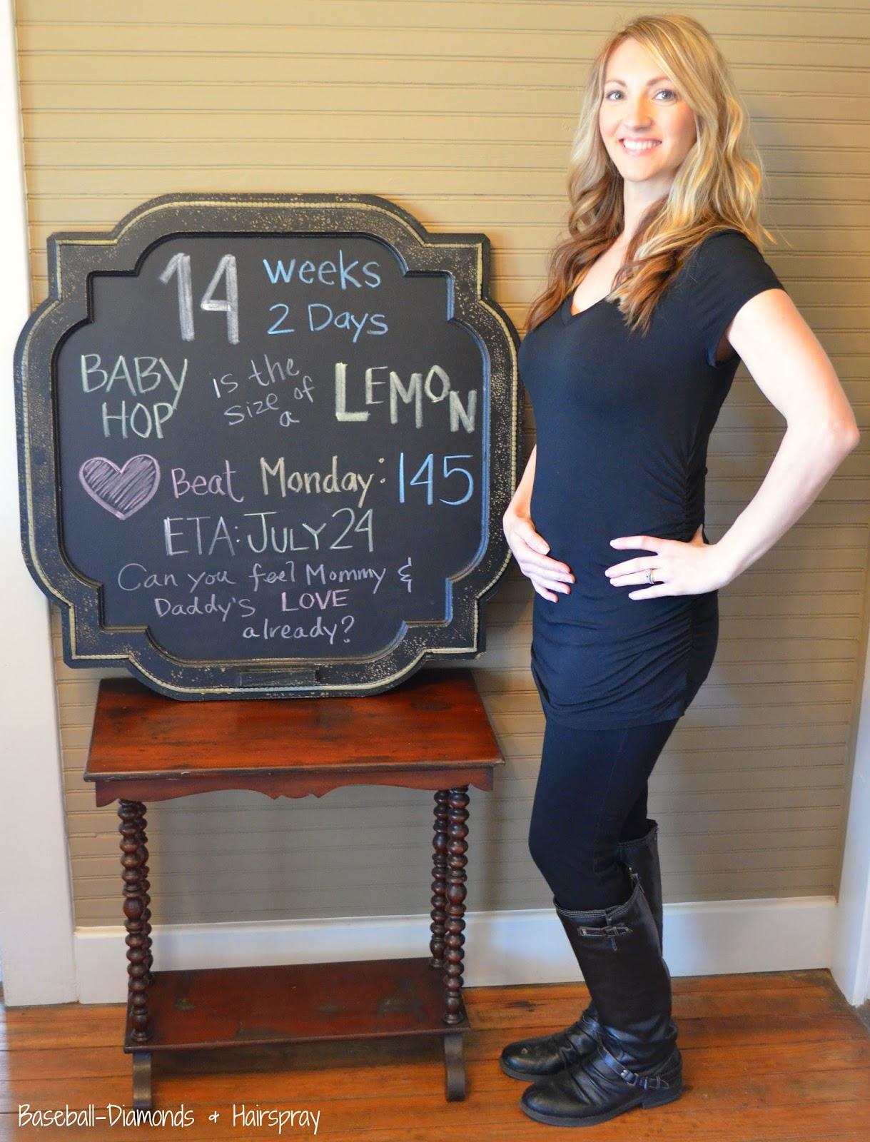 14 weeks belly pic chalkboard pregnancy