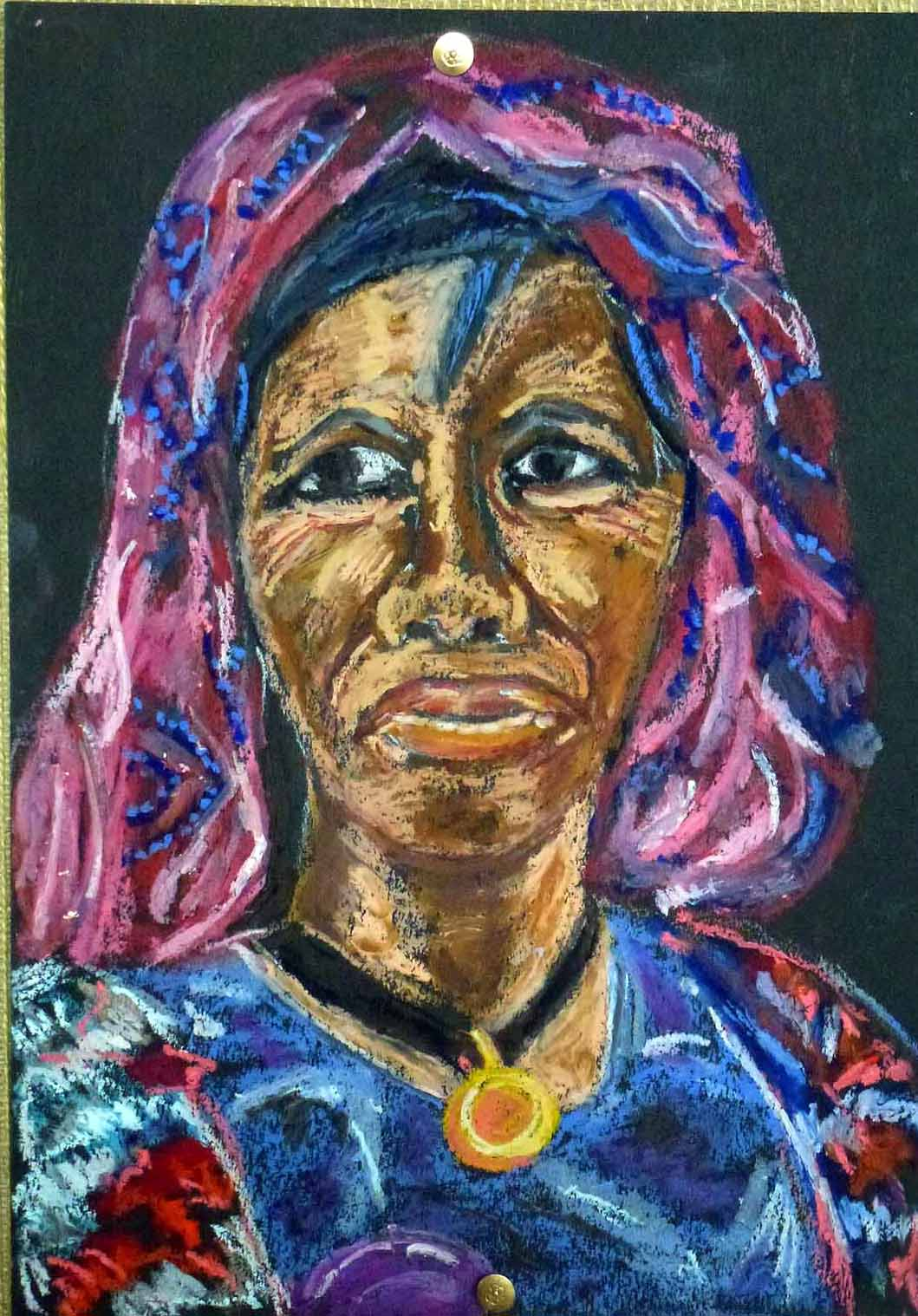 Art de vivre la peinture de peintrefiguratif pastel gras portrait africaine for Peinture pastel gras
