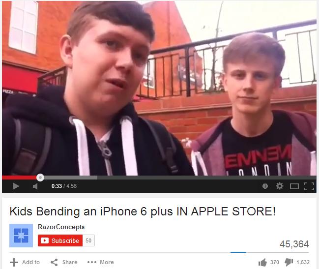 VIDEO BUDAK ROSAKKAN IPHONE 6 DALAM APPLE STORE UNTUK BUKTIKAN IA MUDAH BENGKOK