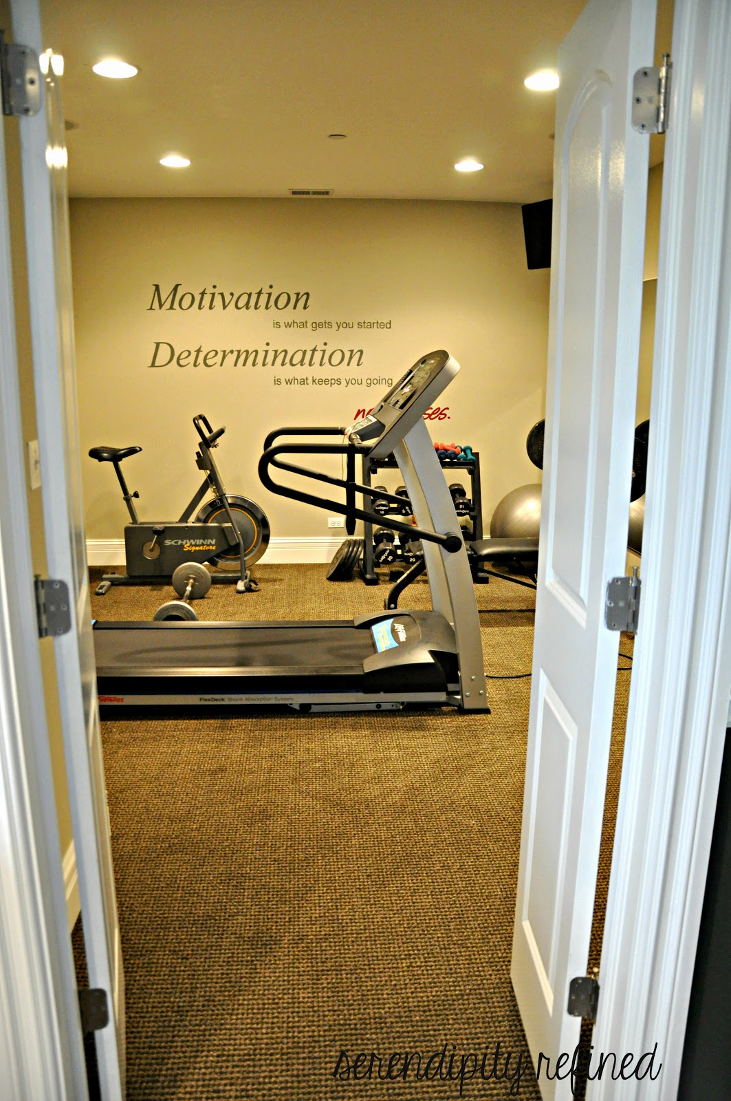 Serendipity refined blog basement make over reveal and my for Home gym room