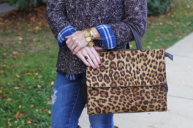 boden leopard handbag, madewell marled sweater, julie vos coin bracelet, madewell ring