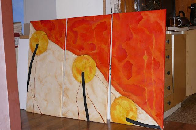 Tryptyk, potrójny obraz olejny, abstrakcja malowana na płótnie na zamówienie cena namalowania obrazu olejnego